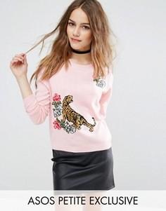 Джемпер с тигром и цветочной вышивкой ASOS PETITE - Розовый