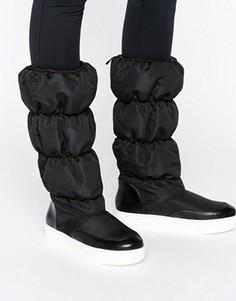 Стеганые сапоги до колен Monki - Черный