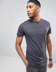 Удлиненная меланжевая футболка с асимметричным низом Bellfield - Серый
