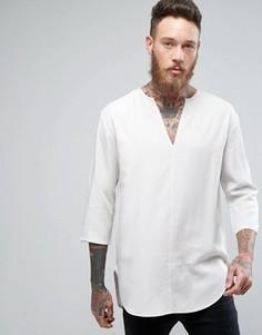 Белая длинная рубашка классического кроя с V-образным вырезом ASOS - Белый