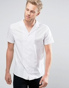 Белая узкая рубашка в клетку с короткими рукавами и отложным воротником HUGO by Hugo Boss Endo - Белый
