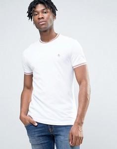 Белая приталенная футболка из пике с контрастной отделкой Original Penguin Ringer - Белый
