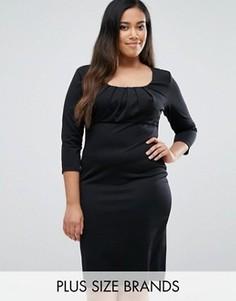 Платье-футляр с плиссировкой на груди Goddiva Plus - Черный