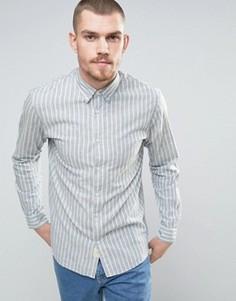 Рубашка классического кроя в полоску с кокеткой на спине Selected Homme - Кремовый