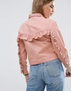 Выбеленная розовая джинсовая куртка с рюшем на спине ASOS - Розовый