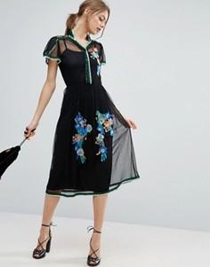Сетчатое платье в горошек с вышивкой и отделкой пайетками ASOS PREMIUM - Черный