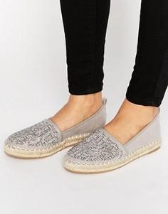 London Rebel Jewelled Espadrille Shoes - Серый
