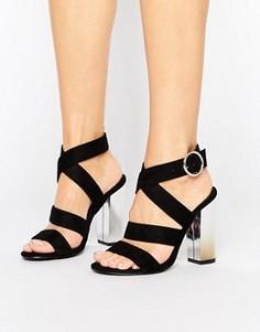 Сандалии на блочном каблуке с ремешками Truffle Collection - Черный