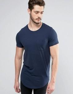 Длинная меланжевая хлопковая футболка с карманом Produkt - Темно-синий