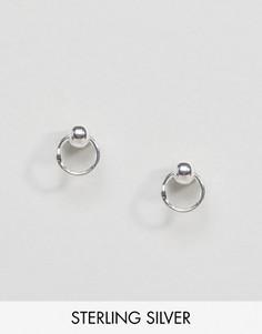 Серебряные серьги-гвоздики с кольцами Regal Rose Sienna - Серебряный