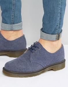 Выбеленные парусиновые туфли с 3 парами люверсов Dr Martens Lester - Темно-синий