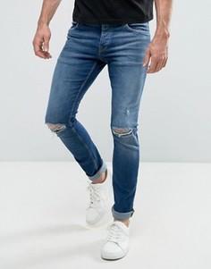 Темно-синие рваные джинсы слим Jack & Jones Intelligence - Синий