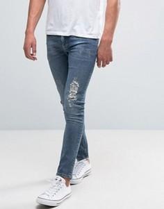 Синие укороченные рваные джинсы супероблегающего кроя ASOS - Синий