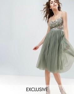 Платье миди с тюлевой юбкой и вышивкой на лифе Needle and Thread - Зеленый