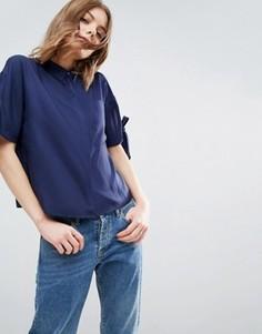 Свободная рубашка с завязками на рукавах ASOS - Темно-синий