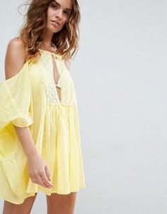 Кружевная пляжная туника с открытыми плечами ASOS - Желтый