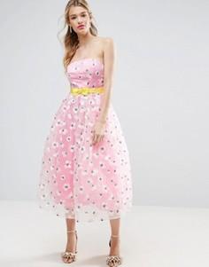 Платье миди для выпускного из органзы с вышивкой и бантом на талии ASOS SALON - Розовый