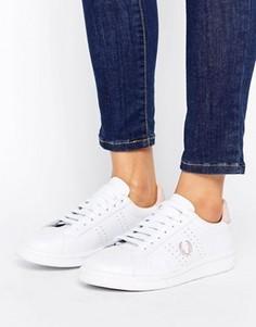 Розово-белые кожаные кроссовки Fred Perry - Белый