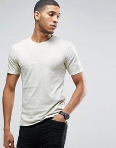 Длинная футболка из органического хлопка с карманами Only & Sons - Бежевый