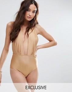 Золотистый слитный купальник с халтером South Beach - Золотой