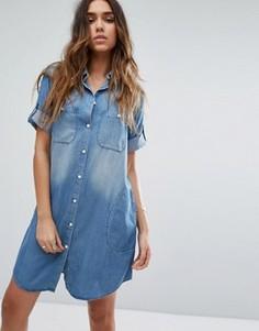 Свободное джинсовое платье-рубашка Replay - Синий