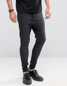 Черные джинсы скинни с заниженным шаговым швом Religion - Серый