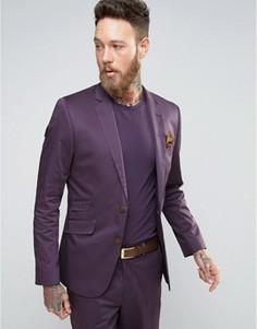 Фиолетовый приталенный пиджак из хлопкового сатина Devils Advocate - Фиолетовый
