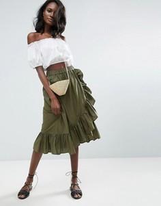 Хлопковая юбка миди с запахом и кромкой-оборкой ASOS - Зеленый