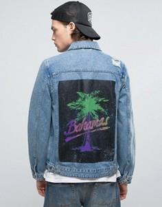 Джинсовая куртка с принтом на спине ASOS - Синий