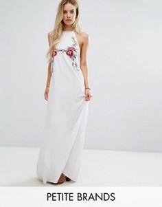 Платье-халтер макси с вышивкой Boohoo Petite - Белый
