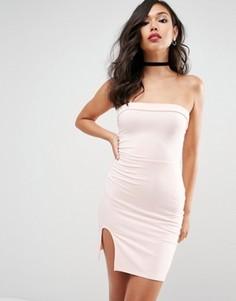 Облегающее платье мини без бретелей с разрезом ASOS - Розовый