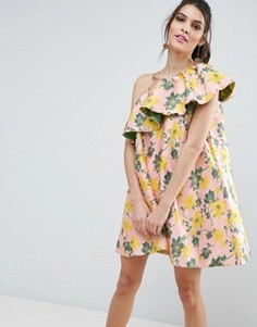 Жаккардовое платье-трапеция мини на одно плечо с оборкой и цветочным узором ASOS - Мульти