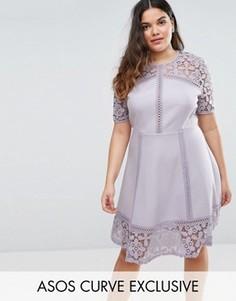 Платье мини с кружевной вставкой ASOS CURVE Premium - Фиолетовый
