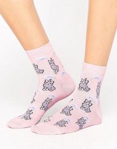 Носки с котами-единорогами ASOS - Розовый