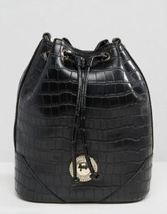 Сумка на плечо со шнурком и эффектом кожи крокодила Verscae Jeans - Черный Versace