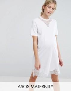 Платье-футболка с кружевными вставками ASOS Maternity - Белый