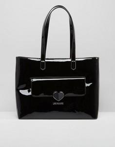 Лакированная большая сумка Love Moschino - Черный