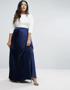 Атласная плиссированная юбка макси Lovedrobe - Темно-синий