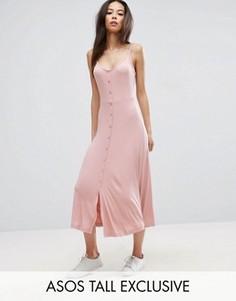 Приталенное платье миди в рубчик на пуговицах с чашечками ASOS TALL - Розовый