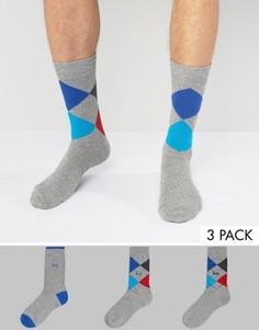 3 пары темно-серых носков с принтом Pringle - Серый
