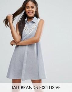 Платье-рубашка без рукавов с кружевной вставкой Glamorous Tall - Белый