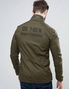 Зеленая куртка с принтом на спине и нашивками Schott Sheffield M65 - Зеленый