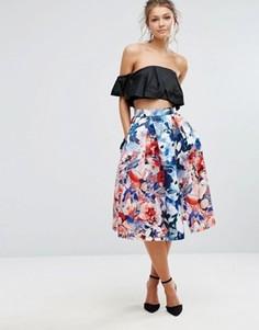 Атласная юбка миди для выпускного с цветочным принтом Closet London - Мульти