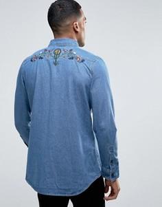 Джинсовая рубашка с вышивкой кактуса Liquor & Poker - Синий