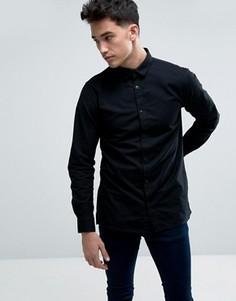 Узкая хлопковая оксфордская рубашка с длинными рукавами Jack & Jones Core - Черный