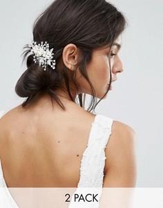 2 серебристых заколки для волос с цветами A Star Is Born - Серебряный