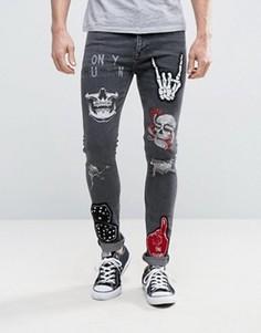 Черные суперузкие джинсы с нашивками и рваной отделкой ASOS - Черный