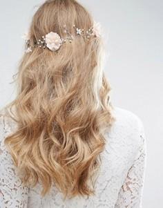 Украшение-заколка для волос с цветочной отделкой и кристаллами ASOS Wedding - Розовый