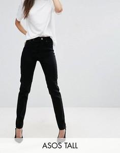 Черные джинсы слим в винтажном стиле с завышенной талией ASOS TALL FARLEIGH - Черный