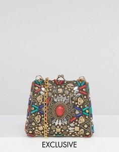 Сумка через плечо с отделкой разноцветными камнями Reclaimed Vintage Inspired - Золотой